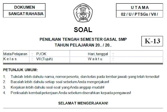 Soal Dan Kunci Jawaban PTS PJOK Kelas 7 SMP