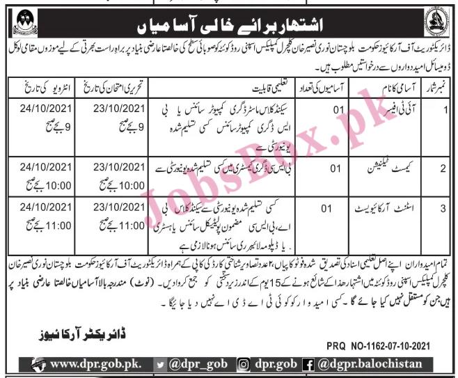 Directorate of Archives Balochistan Jobs 2021 in Pakistan