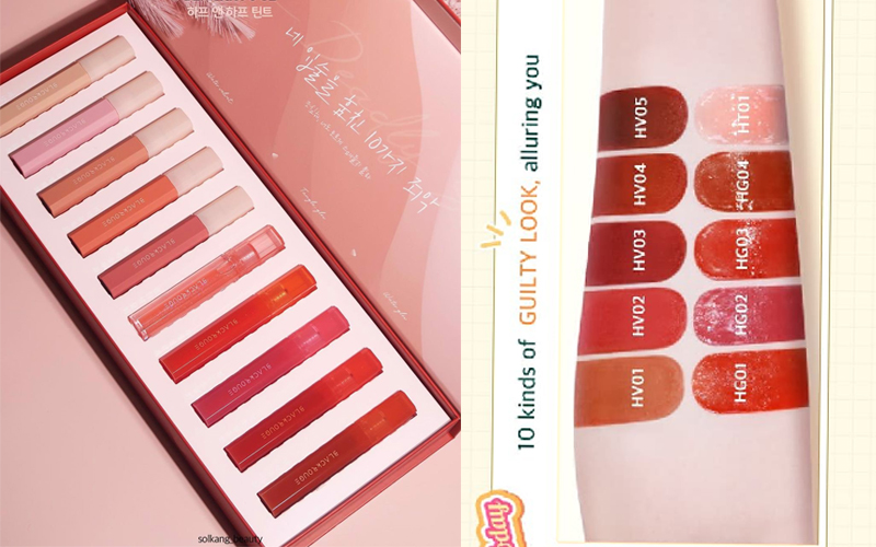 Review son Black Rouge Half N Half Collection - full bảng màu chi tiết