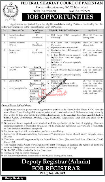 jobs in Federal Shariat Court of Pakistan 2021
