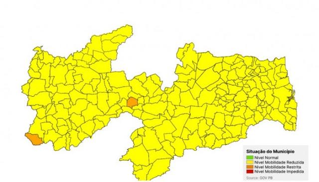 Paraíba tem apenas duas cidades classificadas na bandeira laranja na nova avaliação do Plano Novo Normal