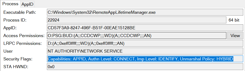 Screenshot of the OleViewDotNet showing the security flags of the CRemoteAppLifetimeManager COM server