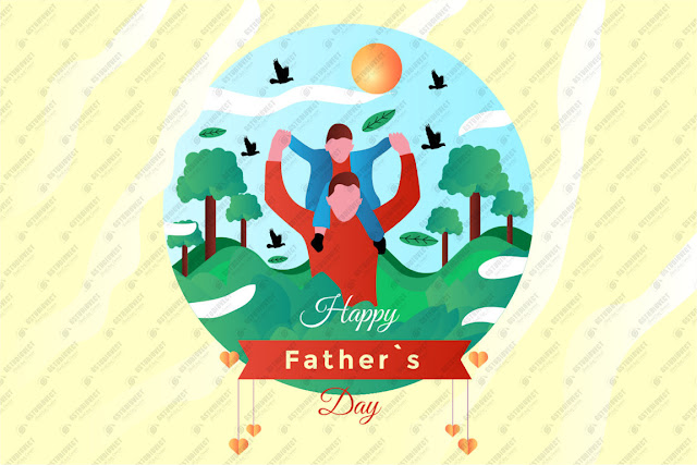 Cartoon father's day illustration free vector download