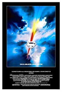 Superman poster - S logo in the sky with a red and yellow streak