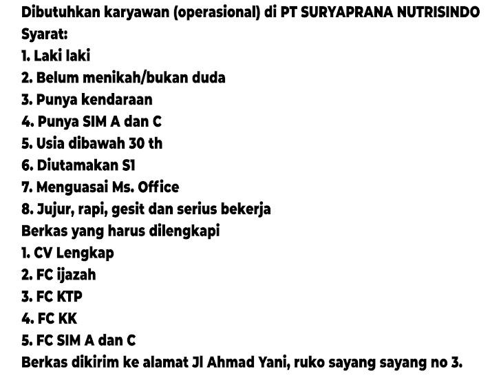 Lowongan Kerja PT Suryaprana Nutrisindo Mataram Lombok NTB