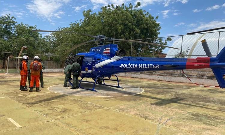 Helicóptero auxilia no combate a incêndio em Livramento, Rio de Contas e Érico Cardoso