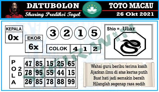 Datubolon Toto Macau Selasa 26 Oktober 2021