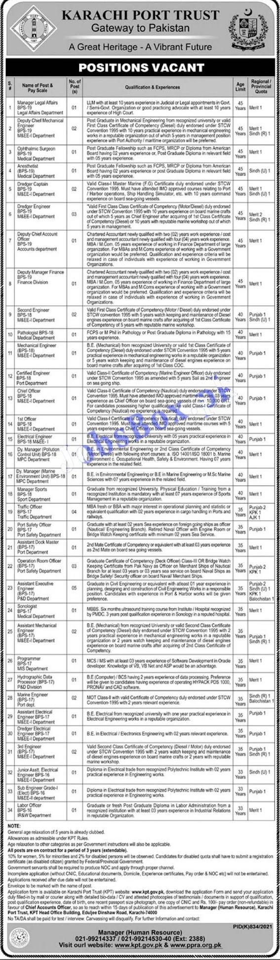 Latest jobs at Karachi Port Trust KPT 2021 - www.kpt.gov.pk