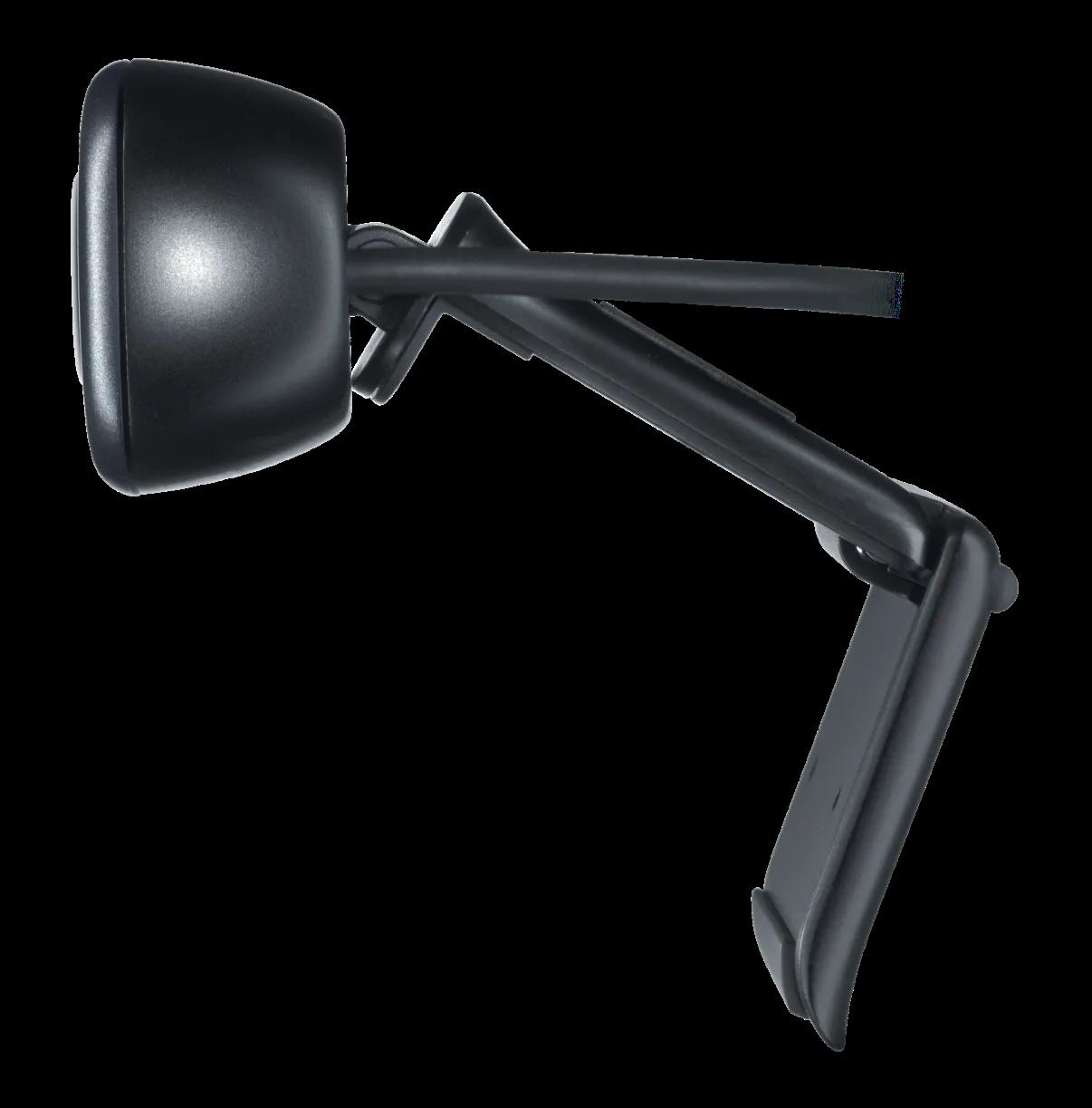 Kẹp phổ dụng có thể điều chỉnh cho phép bạn gắn camera chắc chắn vào màn hình hay máy tính xách tay, hoặc gập kẹp và đặt webcam lên giá sách