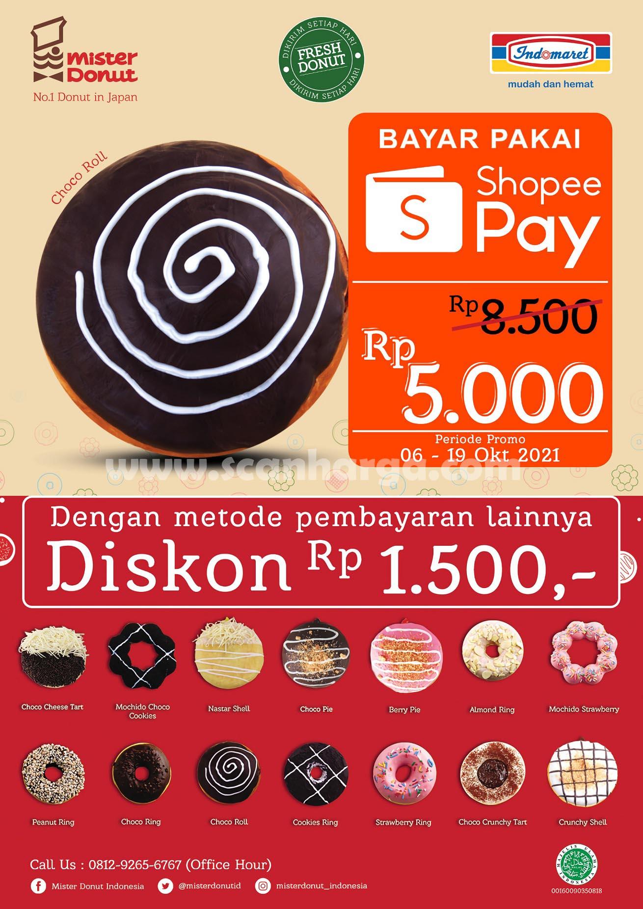 Promo Mister Donut Choco Roll cuma Rp. 5.000 pakai Shopeepay