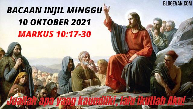 Bacaan Injil Minggu 10 Oktober 2021