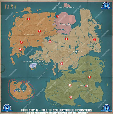 FC6, Rooster Locations, Map