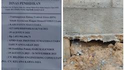 CV Kelana Karya Jaya, bangun Ruang Praktek Siswa (RPS) di SMKN 2 Lotu tanpa pondasi.