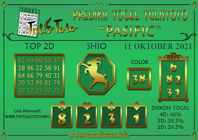 Prediksi Togel PASIFIC TULISTOTO 11 OKTOBER 2021