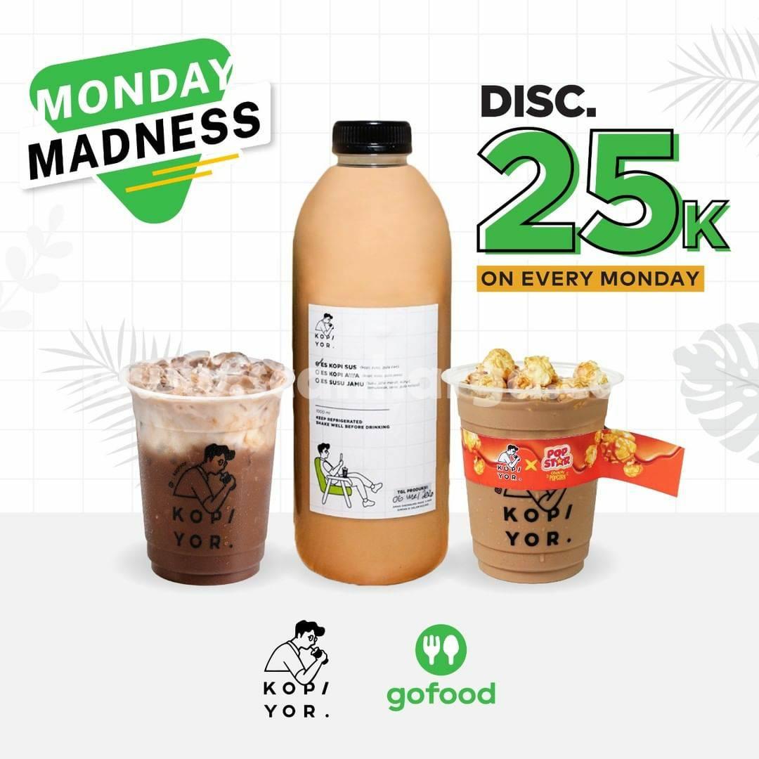 KOPI YOR Promo MONDAY MADNESS GOFOOD – Diskon Rp. 25.000 Tiap Senin