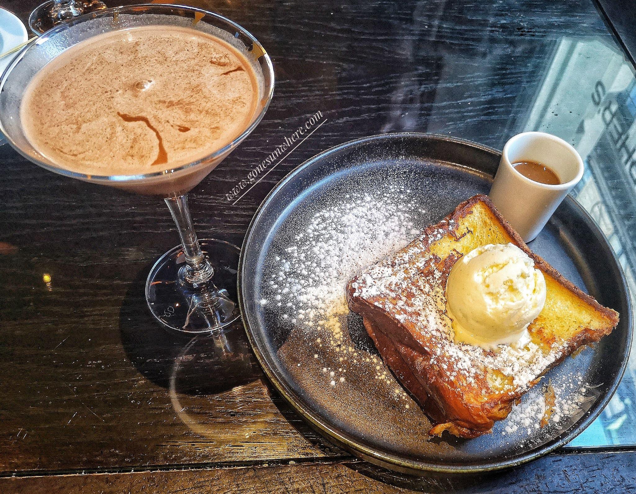 Martini drink and dessert