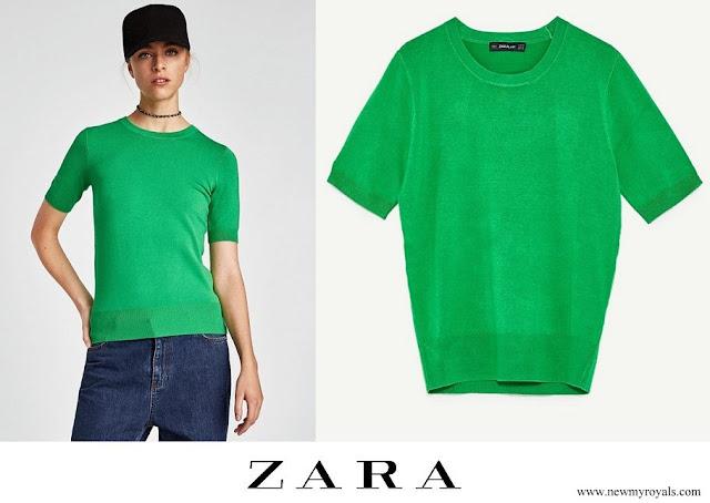 Kate Middleton wore Zara Kelly Green Short Sleeve Knit