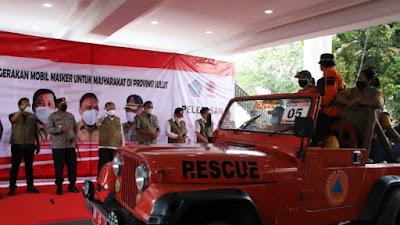 Luncurkan Gerakan Mobil Masker, Kepala BNPB Puji Kerja Keras Gubernur OD Menekan Kasus Covid-19