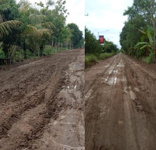 Warga Desa Urung Pane Keluhkan Jalan Berlumpur Dan Licin.