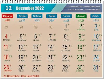 Kalender Bulan Desember 2022 Lengkap Hari Peringatannya - kanalmu