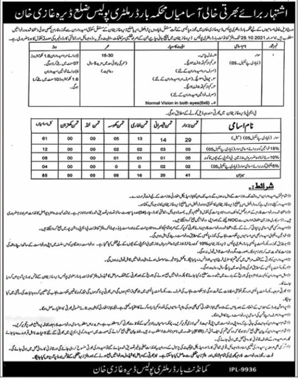 Border Military Police Jobs 2021 || Police Jobs in Pakistan 2021 || New Border Military Police Jobs