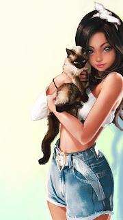 3д девушка с котом на Сяоми и Самсунг.