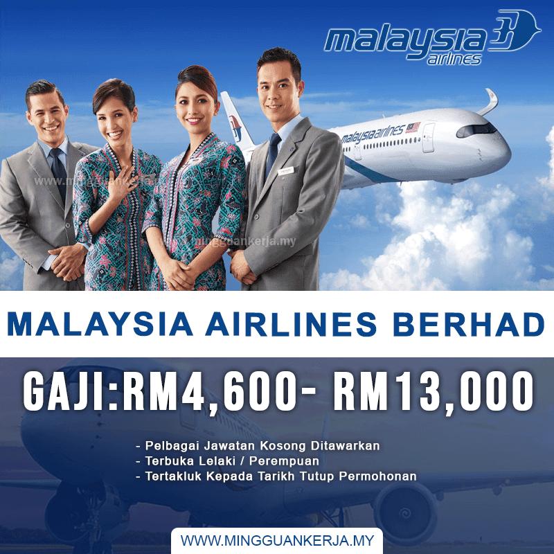 Jawatan Kosong Di Malaysia Airlines Berhad ~ Gaji Bermula RM4,600 - RM13,000. Khas kepada anda yang sedang mencari pekerjaan dan berminat untuk menjawat jawatan kosong terkini yang tertera pada halaman Mingguan Kerja.