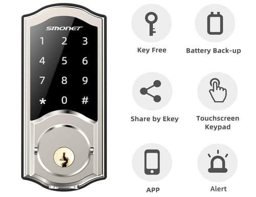 SMONET SMUS-AM-SIL Smart Deadbolt Door Lock Keyless Entry