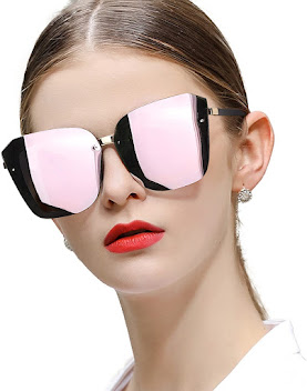 Shiny Oversized Cat Eye Sunglasses For Women