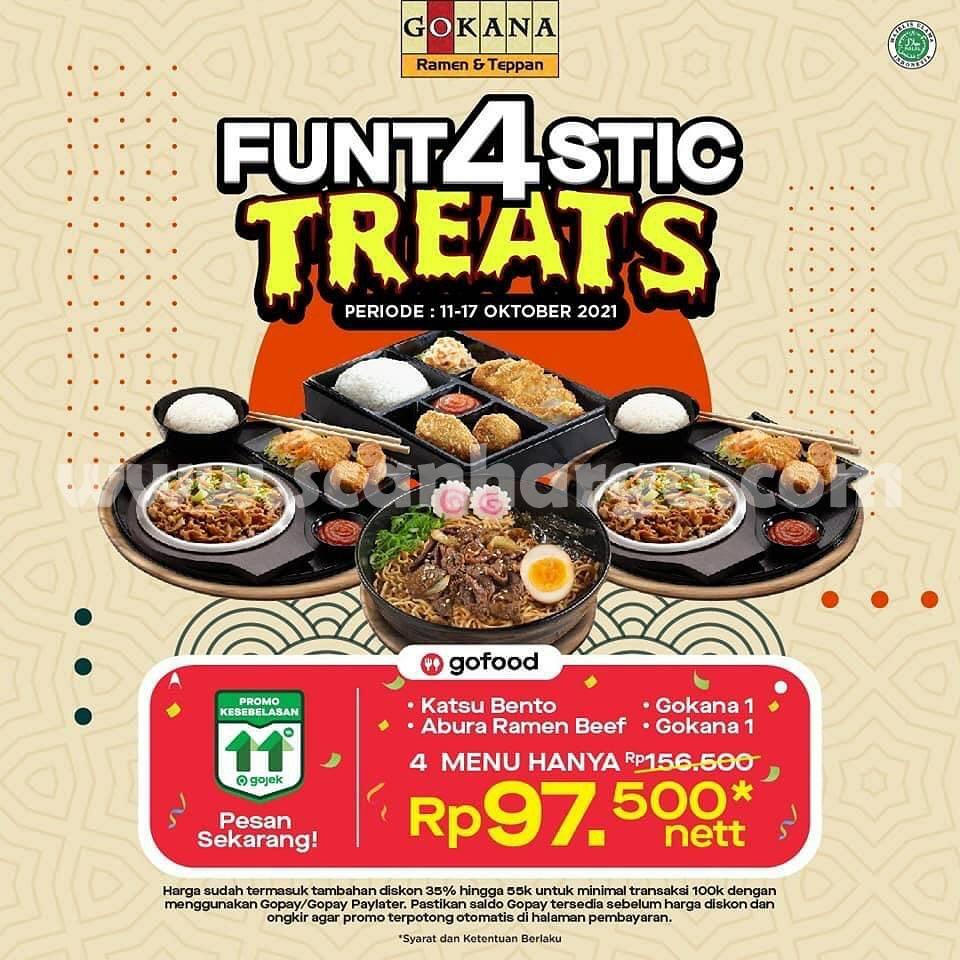 Promo GOKANA GOFOOD FUNTASTIC TREATS - Paket Hemat Ber 4 hanya Rp. 97.500