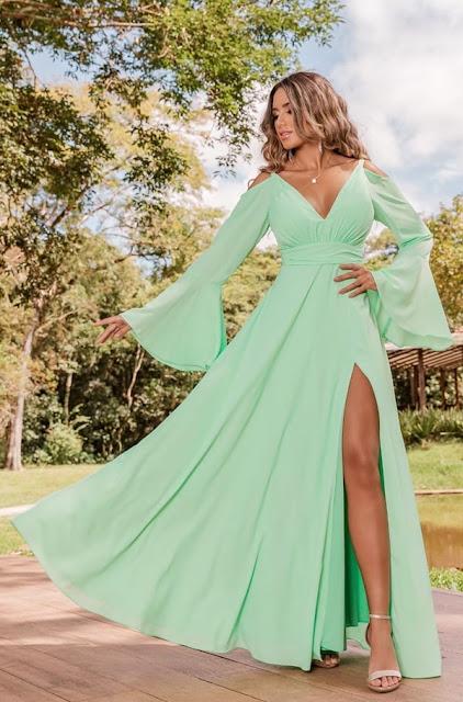 vestido longo verde menta para madrinha de casamento dia