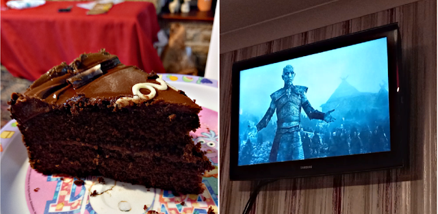 Chocolate cake and Game of Thrones on the TV