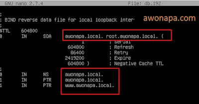 file db.192 yang sudah dikonfigurasi