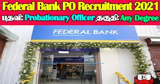 Federal Bank FIP PO Recruitment 2021