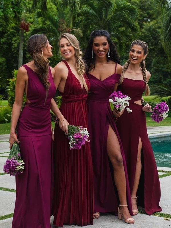 vestidos marsala para madrinhas de casamento