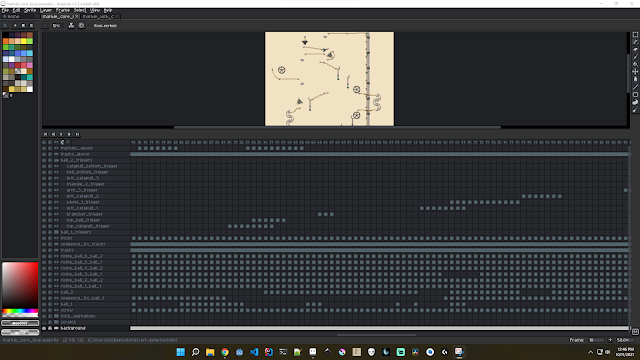 A screenshot of the Aseprite editor, showing the expansive animation dopesheet panel for my marble-track animation.
