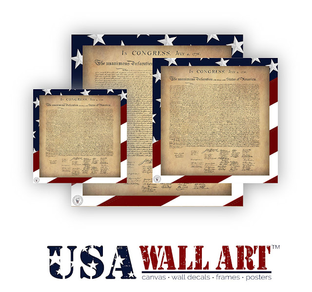Declaration of Independence Wall Decals/Adhesive Posters with a Stars and Stripes background