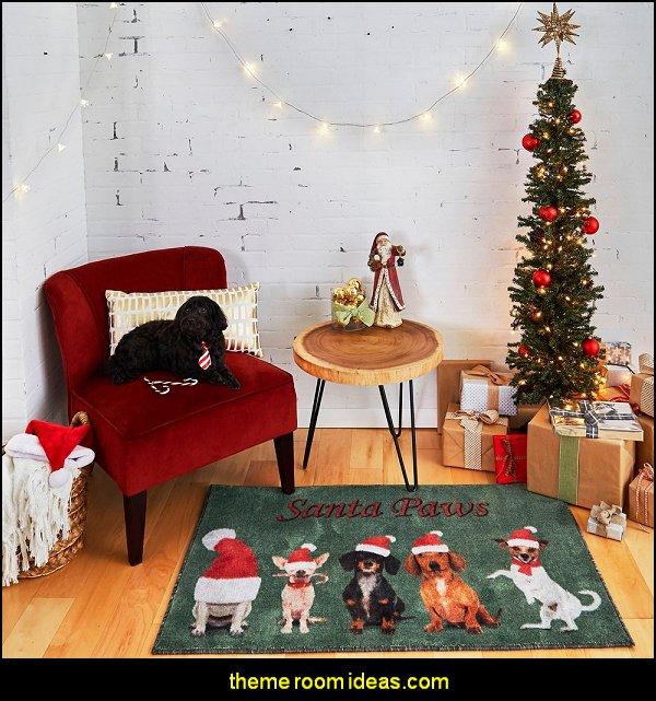 Santa Paws Area Rug  dog christmas rug pets decorations dogs playroom