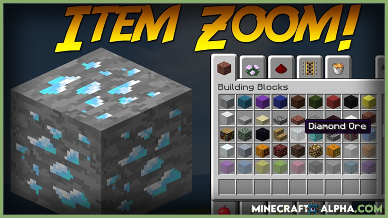 Minecraft ItemZoom Mod 1.17.1 (Big Version of Item)