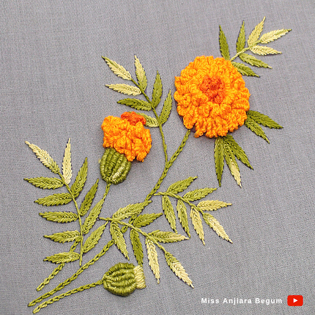 Hand made embroidery flower design classic look, how to do classical embroidery at home