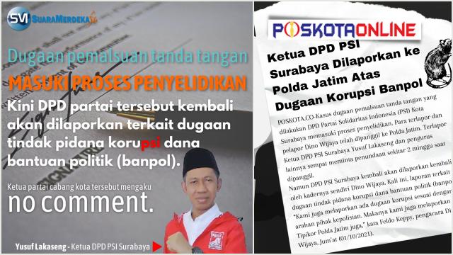 Diduga Korupsi Dana Banpol, PSI Dinilai Balita yang Mulai Nakal