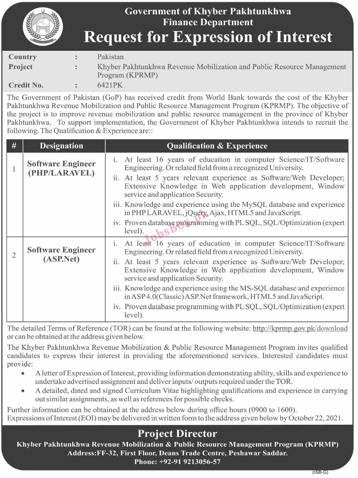 Planning and Development Department KPK Jobs 2021 Latest