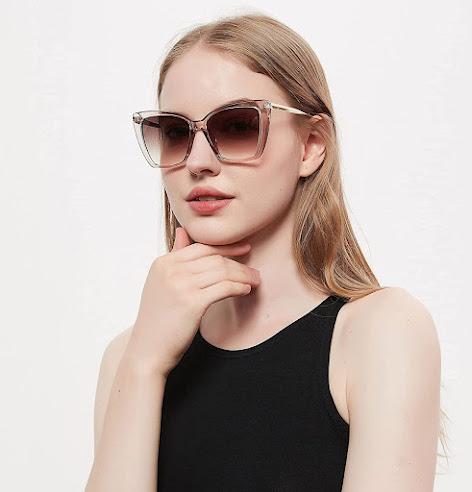 Brown Oversized Cat Eye Sunglasses For Women
