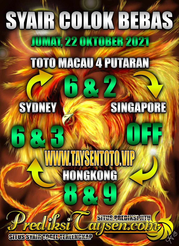 Prediksi Togel Colok Macau Jumat 22 Oktober 2021