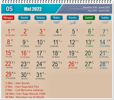 Kalender Bulan Mei 2022 Lengkap Hari Peringatannya - kanalamu