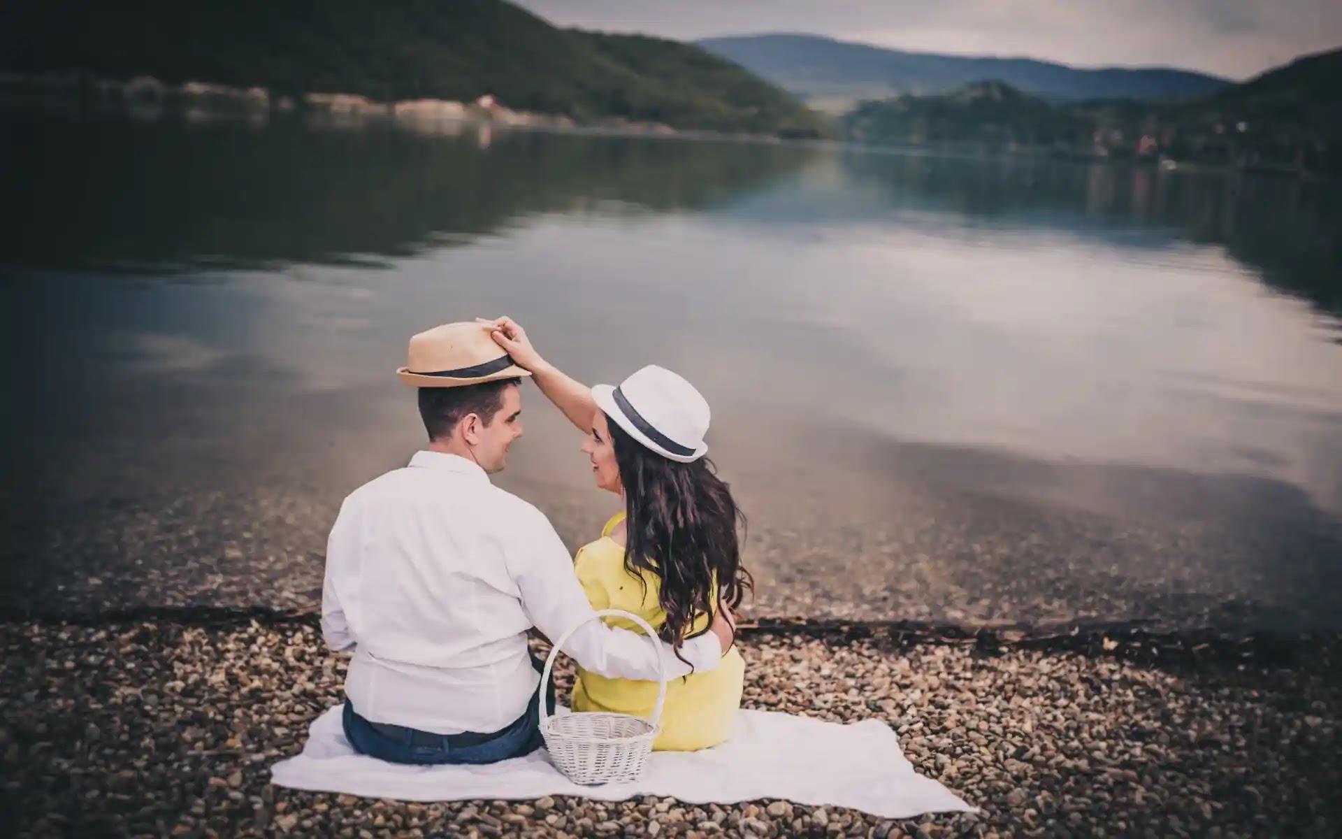 love couple sitting near river image