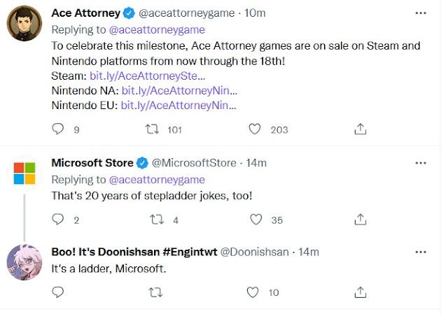 Microsoft Store Ace Attorney anniversary Twitter 20 years stepladder jokes