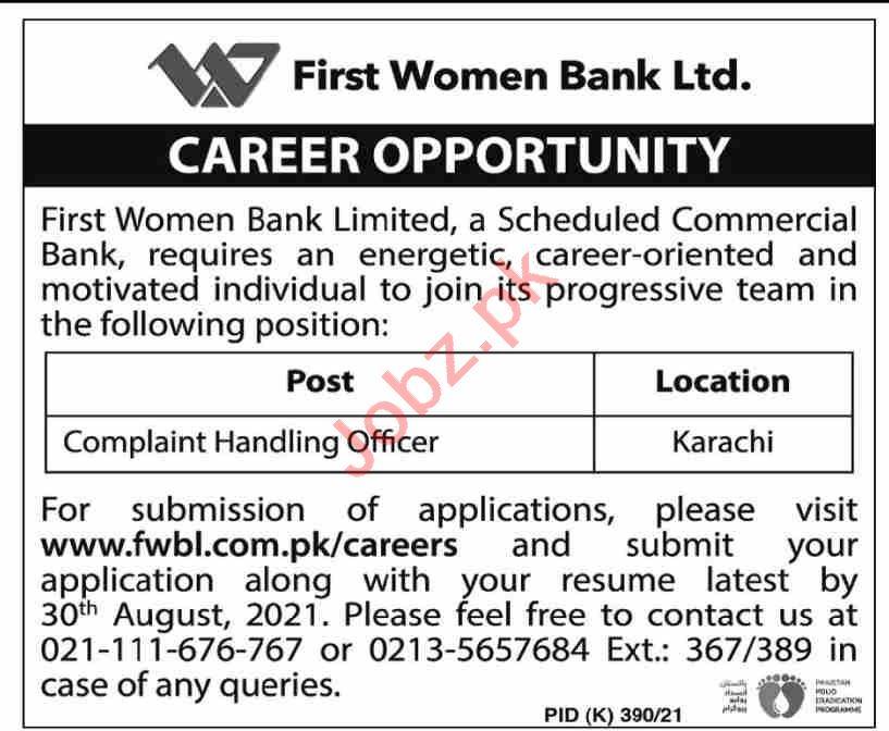 First Women Bank Limited Job 2021 Complaint Handling Officer in Karachi ,Official Website: www.fwbl.com.pk