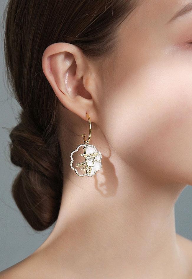 中國風半鏤空花朵耳環