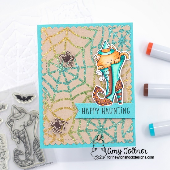 Witchy Newton Stamp and Die Set, Spooky Roundabout, Spooky Street Stamp Set, Spiderweb Stencil, Frames and Flags Die Set, Banner Trio Die Set by Newton's Nook Designs #newtonsnook #handmade